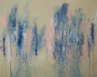 Large Abstract Blue Pink White Tan Beige Painting Textured Modern Art Contemporary Art