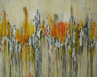 Large Abstract Yellow Orange White Black Painting Textured Modern Art Contemporary Art