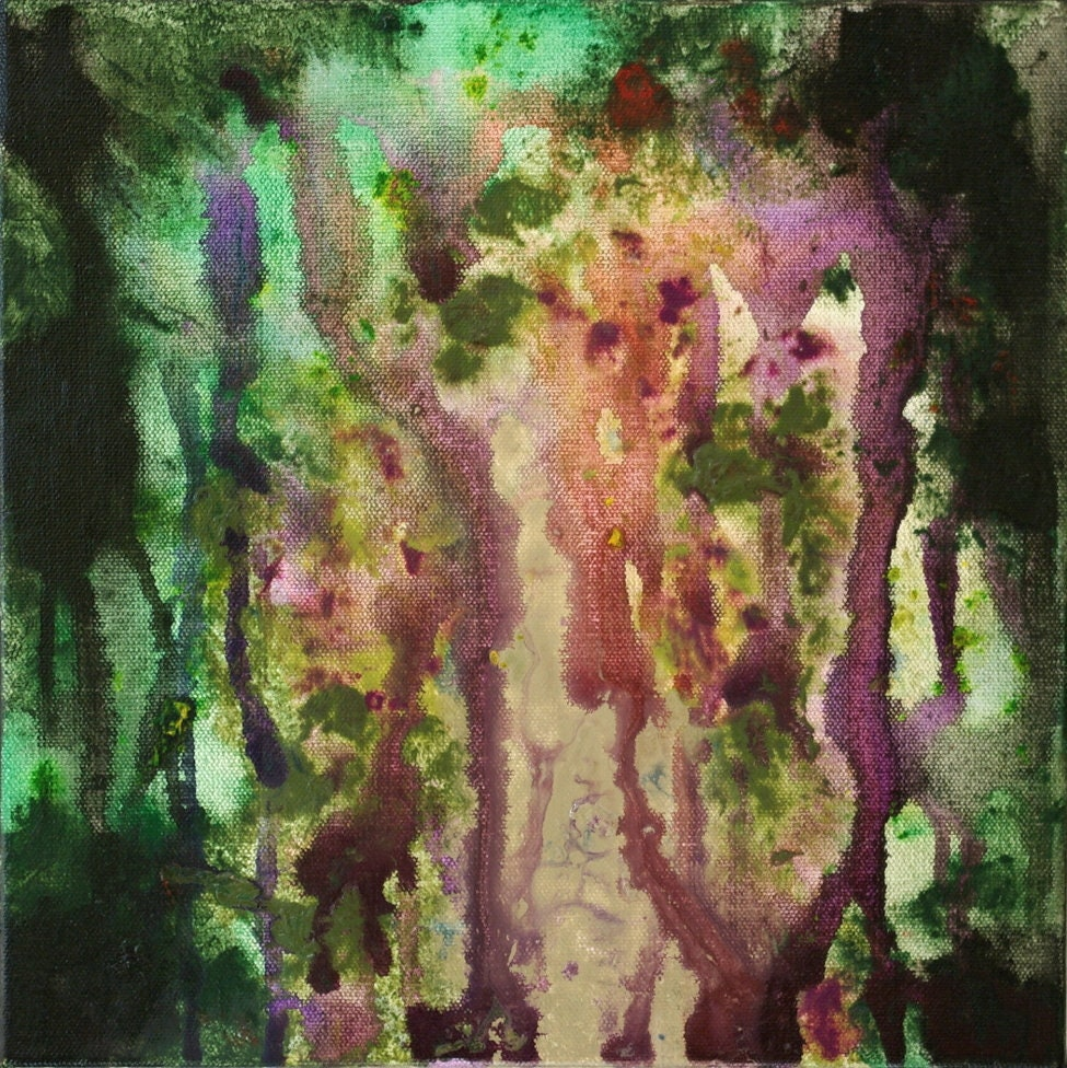 Grand abstrait acrylique peinture violet rouge vert noir | Etsy