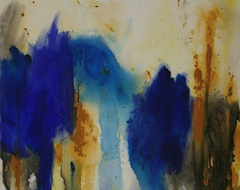 Large Abstract Acrylic Painting Blue Painting Brown Painting White Painting Modern Art Contemporary Art