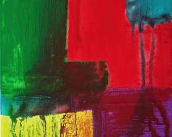 Abstract Acrylic Painting Red Painting Green Painting Yellow Painting Modern Art Contemporary Art