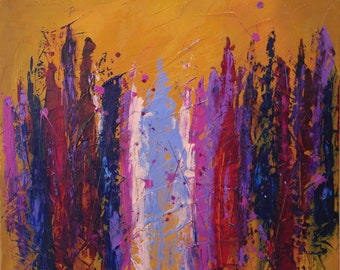Large Abstract Acrylic Purple Red Orange Magenta Pink Blue Drip Painting Textured Modern Contemporary Art