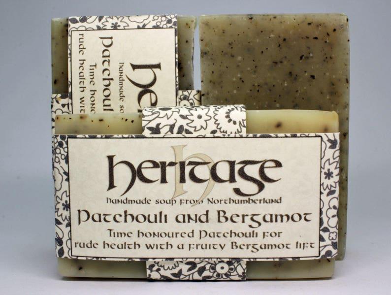 Natural Handmade Patchouli & Bergamot Soap bar. Vegan Soap. image 0