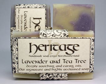 Lavender and Tea Tree regular sized soap bar. Lavender Swirl. Handmade and 100% natural soap bar. Clean and fresh scent. No Parabens or SLS