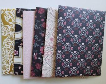 Enchanted Romantic Flower Forest Envelopes Handmade, Assorted Set of 6