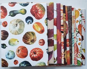 Autumn and Fall Envelopes Handmade, Set of 12