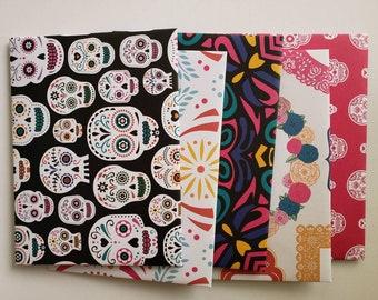 Day of the Dead Dia de los Muertos Envelopes Handmade, Assorted Set of 5