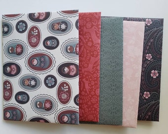 Enchanted Romantic Flower Forest Envelopes Handmade, Assorted Set of 5
