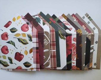 Autumn Fall Harvest Gift Card and Gratuity Envelopes Handmade, Assorted Set of 15