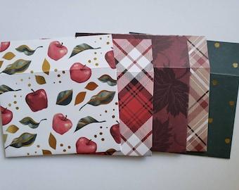 Autumn Fall Harvest Envelopes Handmade, Assorted Set of 5