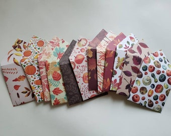 Autumn and Fall Gift Card and Gratuity Envelopes Handmade, Assorted Set of 12