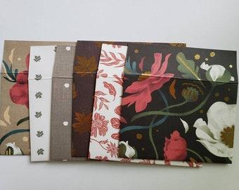Autumn Fall Harvest Envelopes Handmade, Assorted Set of 6