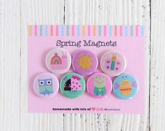 Spring Magnet Set Of 7   Spring Refrigerator Magnet   Gift For Friend   Cute Animals Fridge Magnets