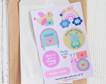 Happy Mail Sticker Sheet - Snail Mail Stickers   Sticker For Packaging   Packaging Stickers   Happy Mail Sticker Sheet