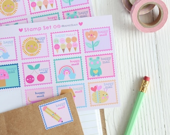 Postage Stamp Sticker Pack - 12 Stamps   Happy Mail Sticker   Snail Mail Stickers   Sticker For Snail Mail