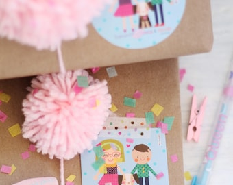 Personalized Kit 24 Gift Tags & 24 Labels, Family Cards, Illustrations Kids, Presents, Favors, Congrats,