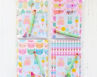 Cute Package: Notebook A2 + Mini Pencil + Sticker Sheet + Ice Cream Sticker + Mini Eraser   Gift Back To School   Girls Gift   Journal