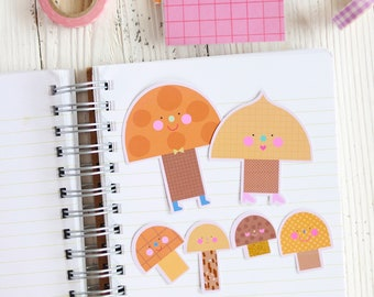 Mushroom Family Sticker Set 8 - Cute Stickers   Sticker For Happy Mail   Cute Sticker Set For Journaling