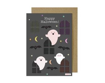 Happy Halloween Card - Halloween Card   Happy Halloween Card   Ghosts Card   Whimsical Cards For Halloween