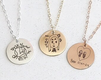 Custom Kids Drawing Necklace/ Actual Drawing Necklace / Kids Drawing Jewelry / Your Child's Art / Engraved Disc Necklace / Gold, Silver,Rose