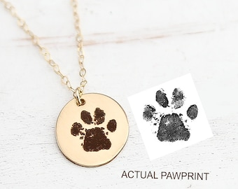 8581155ad Actual pawprint on Necklace - Dogs Paw print Jewelry - Loss of Dog Necklace  - Cat or Dog Pawprint - Gold, Silver- Engraved Paw Print Pendant