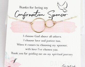 Confirmation Sponsor Gift for Women - Catholic Sponsor - Gifts for Sponsors - Interlocking Charm - Thank you religious Card with Necklace