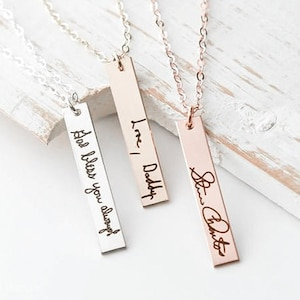Actual Handwriting Rose Gold Bar Necklace Personalised Jewellery - Engraved - Memorial - Towie - Love Island - Gifts For Her