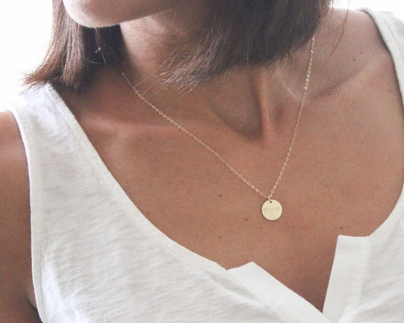 Personalized Gold Disc Necklace / Initial Disk Necklace / Simple Necklace In 14k Gold Fill, Silver, Rose Gold / Delicate Circle Tag Necklace by Etsy
