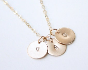Gold Initial Necklace / Personalized Disc Necklace / 14K Gold Initial Necklace / Kids Initial Necklace / Silver Disc Initial Necklace