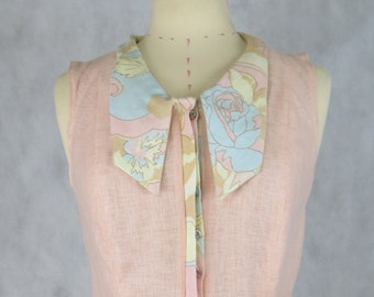 Sports Luxe Pastel, Sleeveless, Collared Shirt- Summer 2015/16 - Size 8/10AUS - ONE OF A KIND