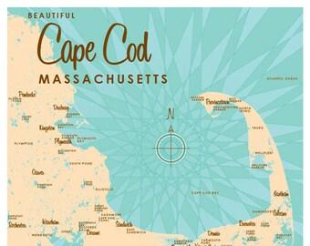 Cape Cod, MA Map Print