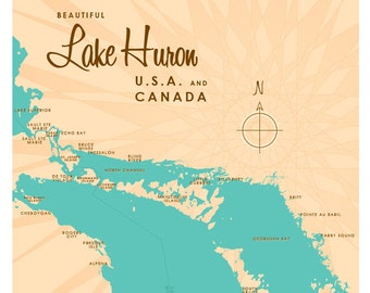 Lake Huron Map Print