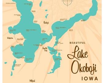 Lake Okoboji, IA Map Print