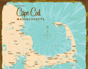 Cape Cod, MA Map - Wood or Metal Sign