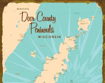 Door County Peninsula, WI - Wood or Metal Sign