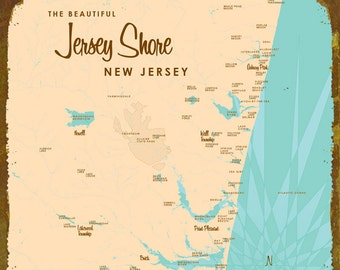 The Jersey Shore Map - Wood or Metal Sign