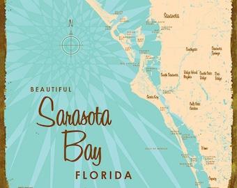 Sarasota Florida Map.Sarasota Florida Map Etsy