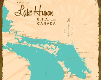 Lake Huron Map - Wood or Metal Sign