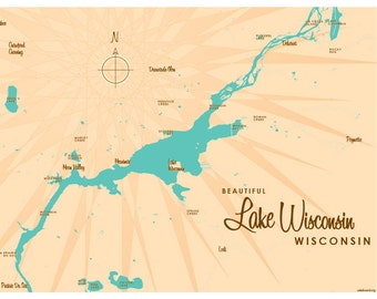 Wisconsin lake map | Etsy