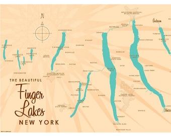 Map finger lakes   Etsy