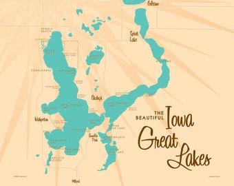 Iowa Lakes Map Etsy