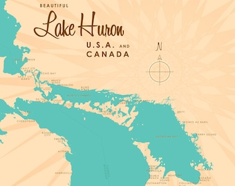 Lake Huron Map - Canvas Print
