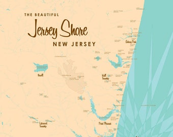 The Jersey Shore Map - Canvas Print