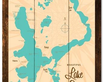 Lake okoboji map | Etsy on milford iowa, map of west davenport iowa, lake okoboji arnold's park iowa, map okoboji bridges bay resort, dickinson county iowa, map of lake okoboji,
