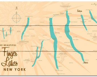 Finger lakes map | Etsy