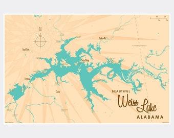 Guntersville Lake Map Engraved Bamboo Cutting Board 9.75x13.75 inches Alabama