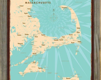 Rustic Travel Inspired Decor Cape Cod Wall Hook Decorative Hanger Made From a Vintage Map of Massachusetts