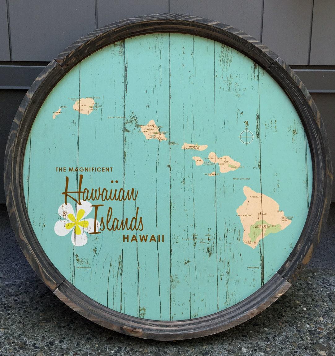 Hawaiian Islands Map Turquoise Map Art Barrel End   Etsy