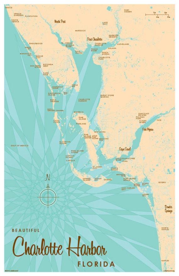Charlotte Zip Code Map Printable.Charlotte Harbor Fl Map Art Print Etsy