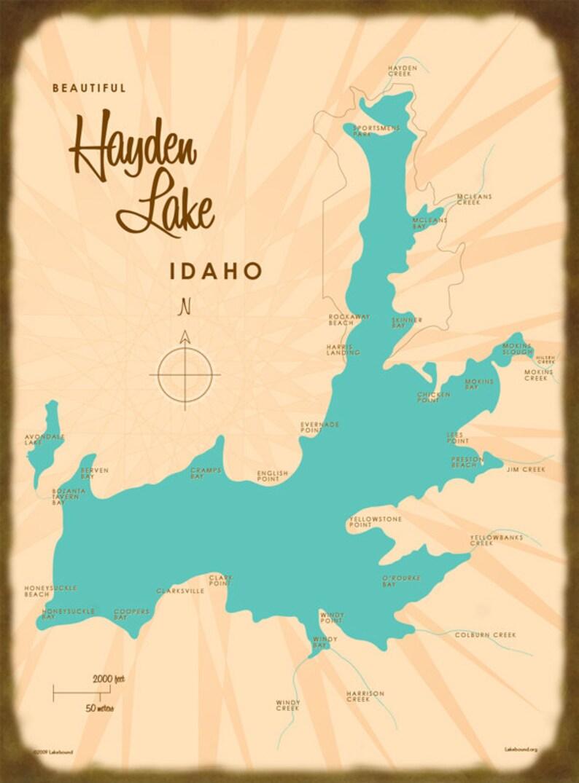 Hayden Lake Id Map Art Wood Or Metal Sign Etsy